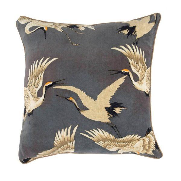 one-hundred-stars-oriental-stork-velvet-cushion-slate-grey