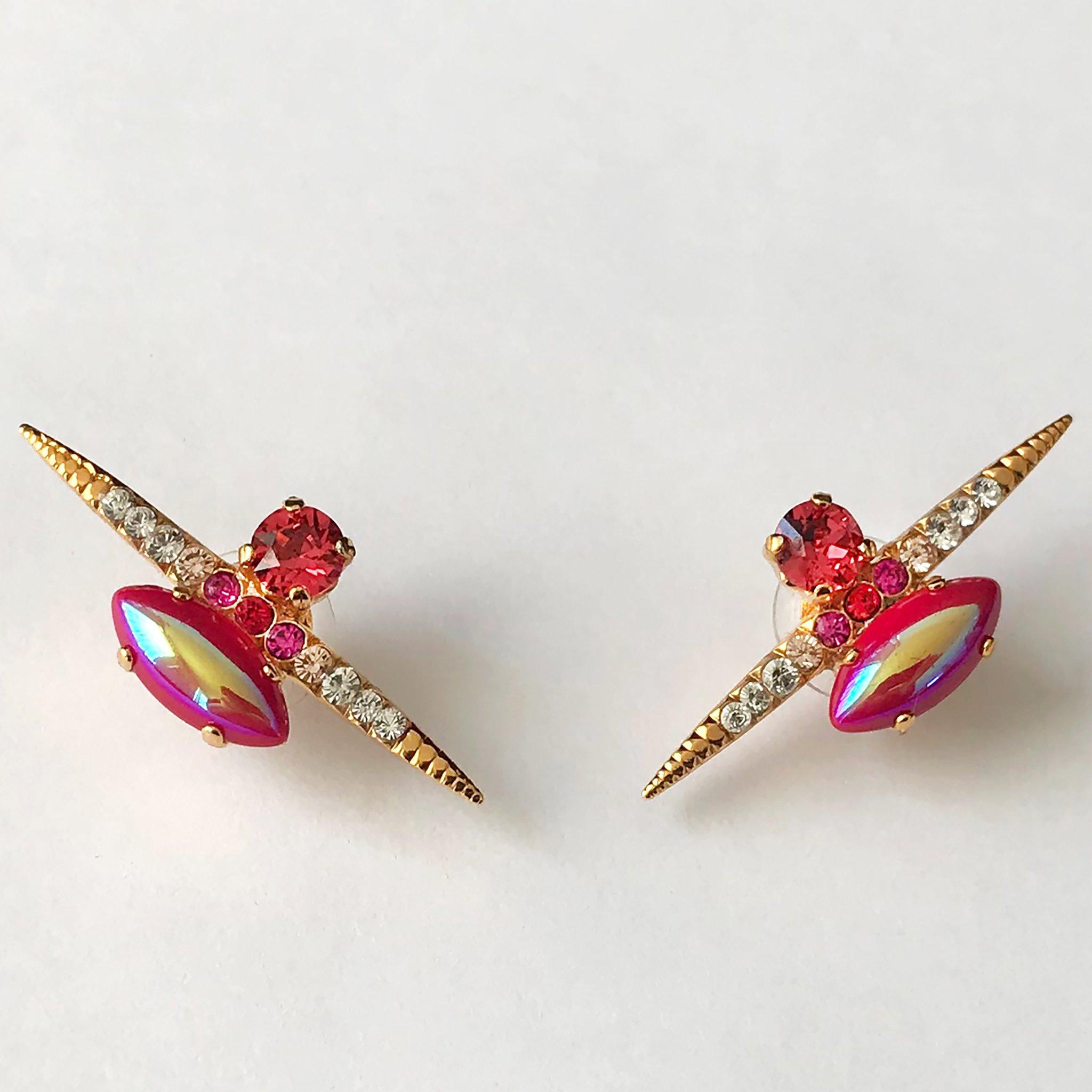 Heiter-jewellery-spike-stone-stud-iridescent-red-gold